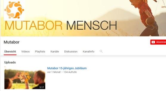 Der Youtube-Account der MUTABOR - Mensch & Entwicklung gGmbH