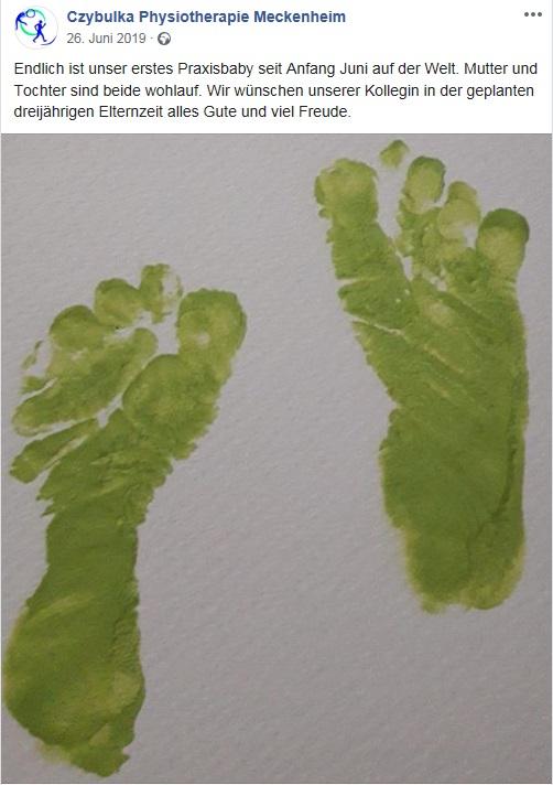 Facebook-Glückwunsche zum ersten Praxis-Baby.